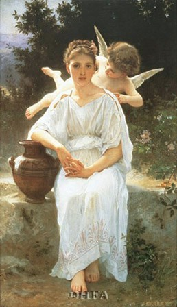 Whisperings of Love, 1889 by William Adolphe Bouguereau art print