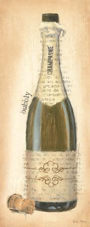 Bubbly Champagne Bottle by Emily Adams art print