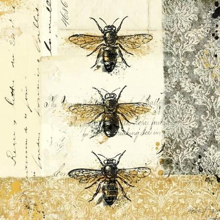 Golden Bees n Butterflies No. 1 by Katie Pertiet art print