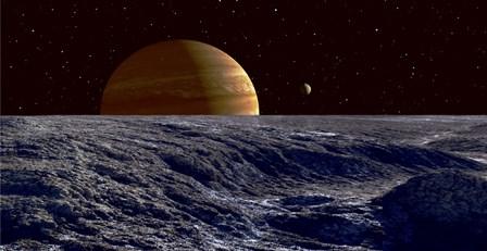 The Gas Giant Jupiter Seen Above the Surface of Jupiter's Moon Europa by Frank Hettick/Stocktrek Images art print