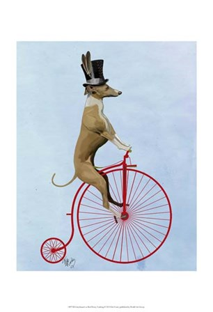 Greyhound on Red Penny Farthing by Fab Funky art print