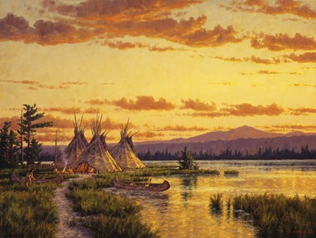Northern Blackfoot Hunters Camp by Randy Van Beek art print