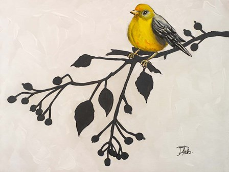 Yellow Bird On the Branch II by Patricia Pinto art print