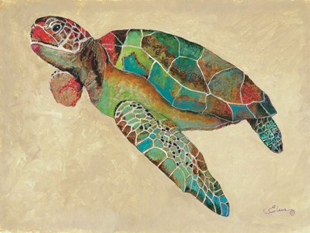 Contemporary Turtle II by Sheila Elsea art print