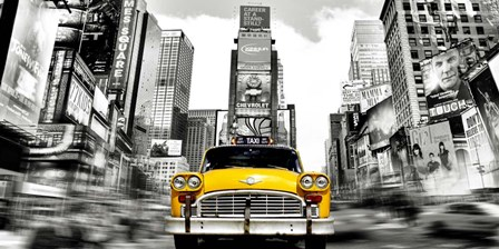Vintage Taxi in Times Square, NYC by Julian Lauren art print